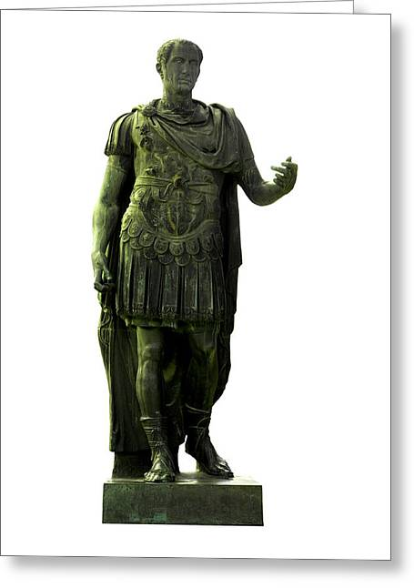 White Background Greeting Cards - Dictator Julius Caesar Greeting Card by Fabrizio Troiani