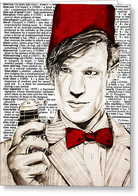 Eleventh Doctor Greeting Cards - Dictionary of Time Greeting Card by Nick Vogt