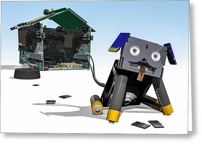 Component Digital Art Greeting Cards - Didgie The Digital Dog Greeting Card by Randy Turnbow