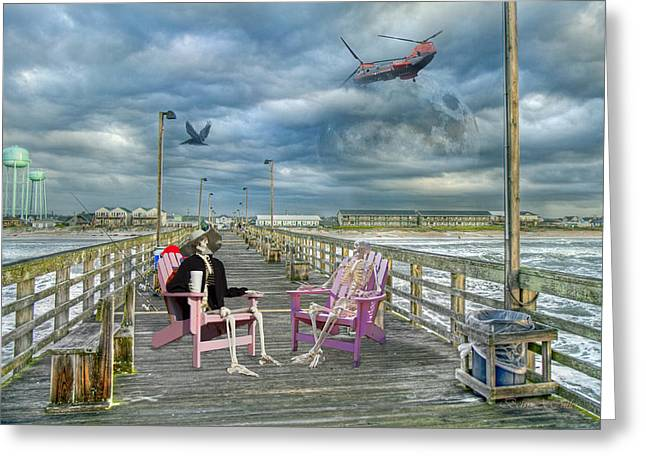 Moon Beach Greeting Cards - Die Hard Fishermen Greeting Card by Betsy A  Cutler