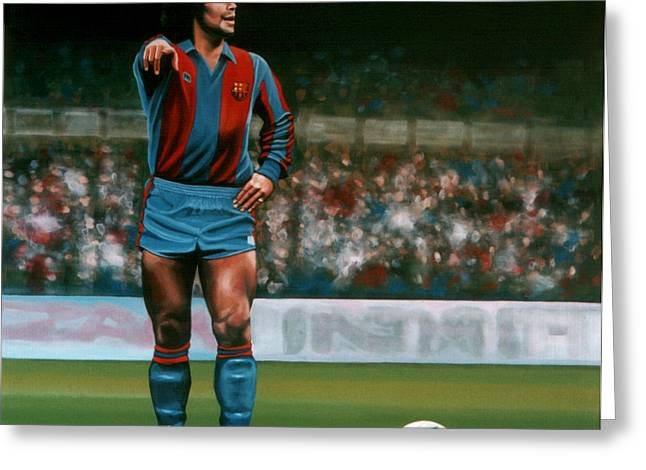 Football Player Greeting Cards - Diego Maradona Greeting Card by Paul  Meijering