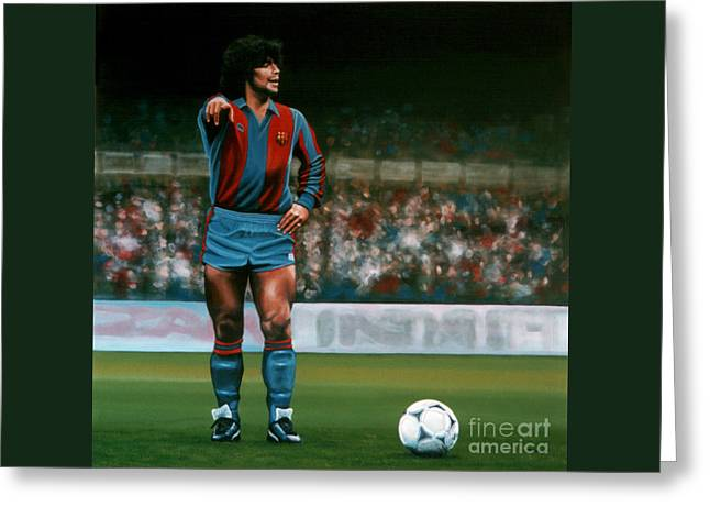 Junior Greeting Cards - Diego Maradona Greeting Card by Paul Meijering