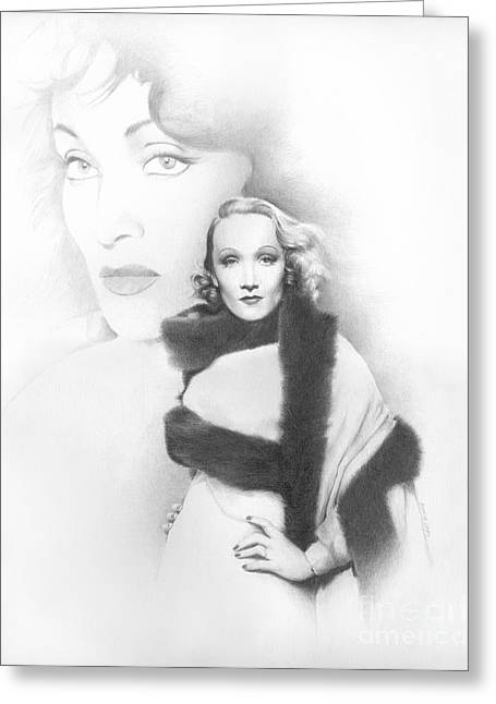 Classic Hollywood Drawings Greeting Cards - Dietrich Greeting Card by TPD Art