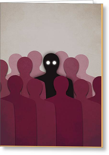 Different And Alone In Crowd Greeting Card by Boriana Giormova