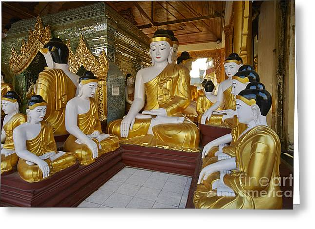 Figurs Greeting Cards - different sitting Buddhas in a circle in SHWEDAGON PAGODA Greeting Card by Juergen Ritterbach