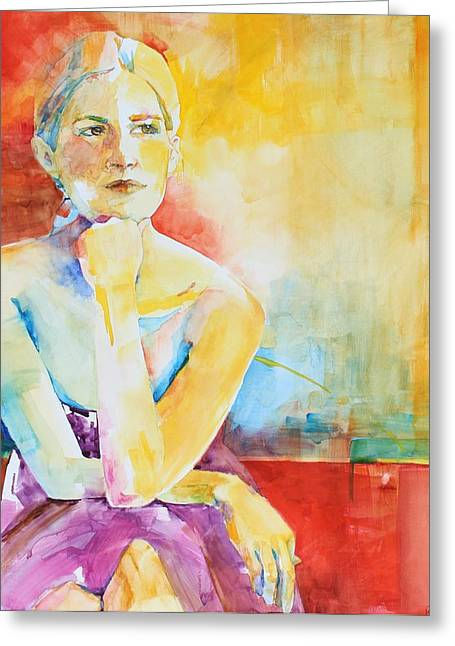 Pondering Paintings Greeting Cards - Difficult Decisions Greeting Card by Andrea Merican