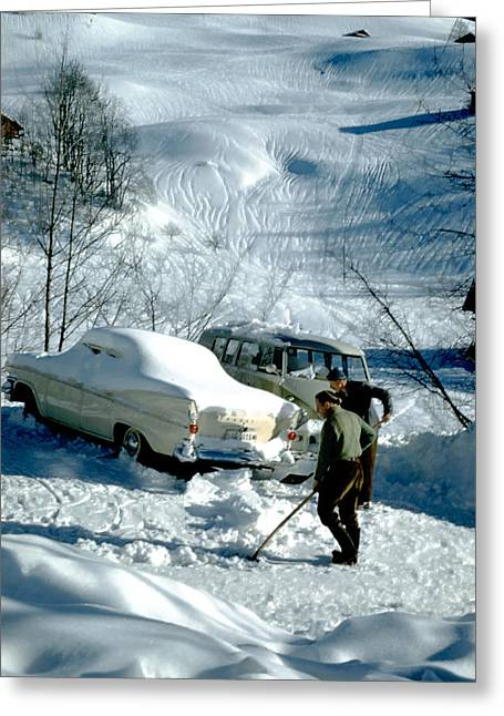 Swiss Greeting Cards - Digging Out Goldern Greeting Card by Jan Faul