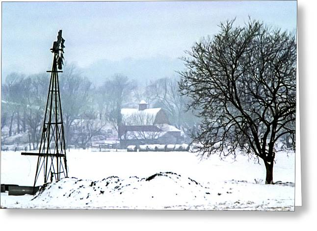 Barn Yard Greeting Cards - DigiScan Lite Snow On the Farm Greeting Card by Rick Grisolano Photography LLC