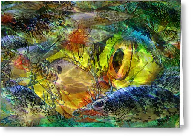 Abstract Digital Art Digital Art Greeting Cards - Digital abstract composition of fishing crankbaits Greeting Card by Randall Nyhof