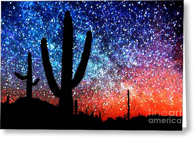 Bathroom Prints Greeting Cards - Digital Art Abstract - Desert Cacti and the Starry Night Sky Greeting Card by Natalie Kinnear