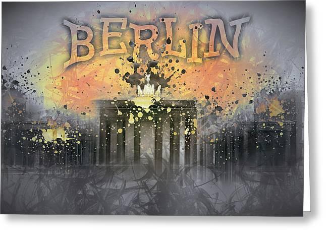 Abstract Sights Greeting Cards - Digital-Art Brandenburg Gate I Greeting Card by Melanie Viola