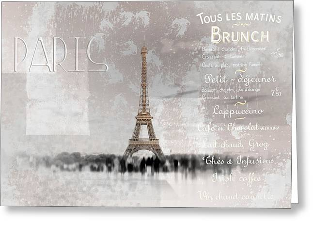 Puddle Digital Art Greeting Cards - Digital-Art Eiffel Tower II Greeting Card by Melanie Viola