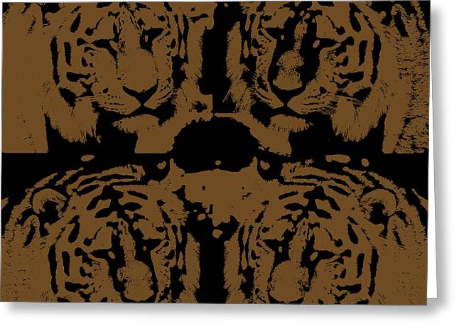 Predacious Greeting Cards - Digital art four tigers Greeting Card by Toppart Sweden