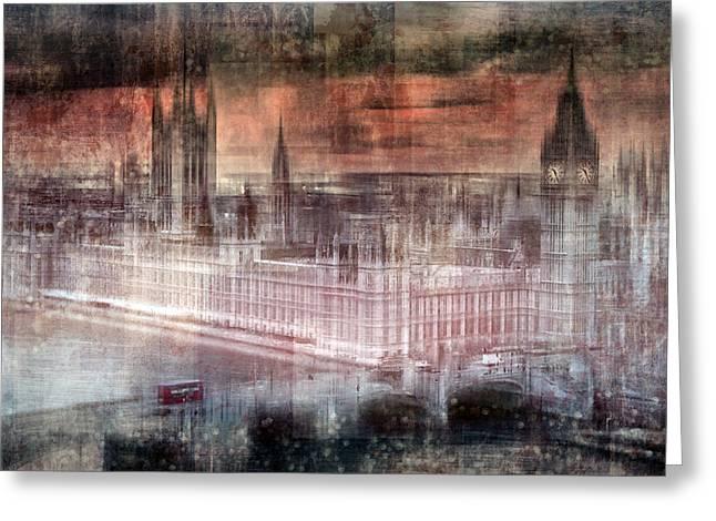 White River Digital Art Greeting Cards - Digital-Art LONDON Westminster II Greeting Card by Melanie Viola