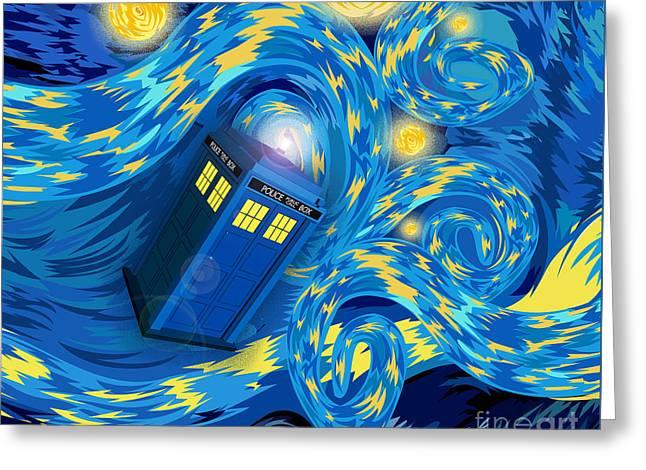 Digital Art Phone Booth Starry The Night Greeting Card by Lugu Poerawidjaja
