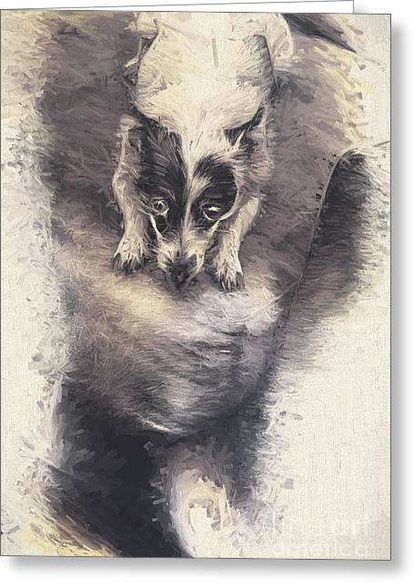 Disobedient Greeting Cards - Digital artwork of a mini fox terrier dog Greeting Card by Ryan Jorgensen