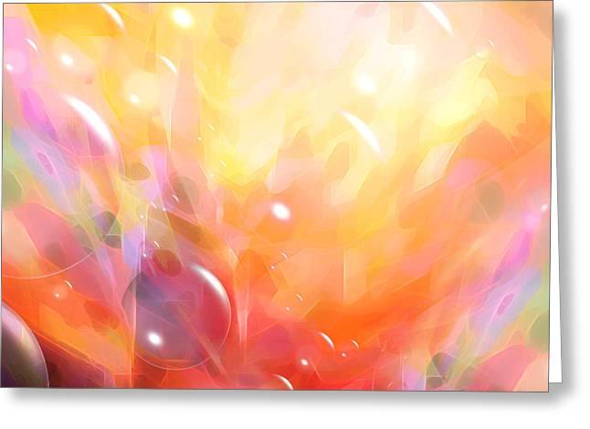 Meditate Greeting Cards - Digital Bubbles Greeting Card by Lutz Baar