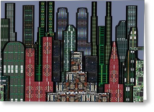Digital Circuit Board Cityscape 5a - Wide Greeting Card by Luis Fournier