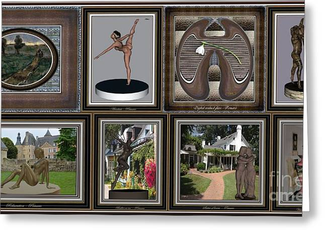 Statue Portrait Greeting Cards - digital collage DC 01 Greeting Card by Pemaro