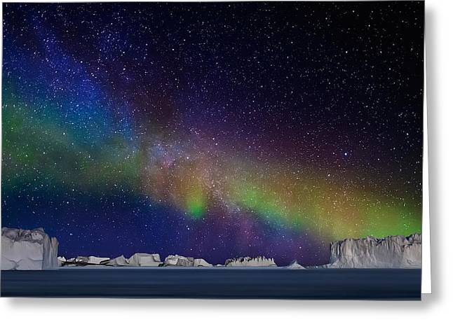 Greenland Greeting Cards - Digital Composite - Aurora Borealis Or Greeting Card by Panoramic Images