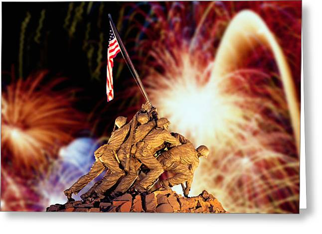 Arlington Greeting Cards - Digital Composite, Fireworks Highlight Greeting Card by Panoramic Images
