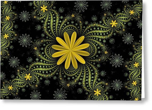 Digital Flowers Greeting Card by Sandy Keeton