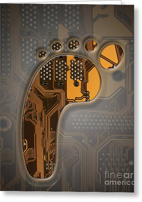 Circuitboard Greeting Cards - Digital Footprint Greeting Card by Mike Agliolo