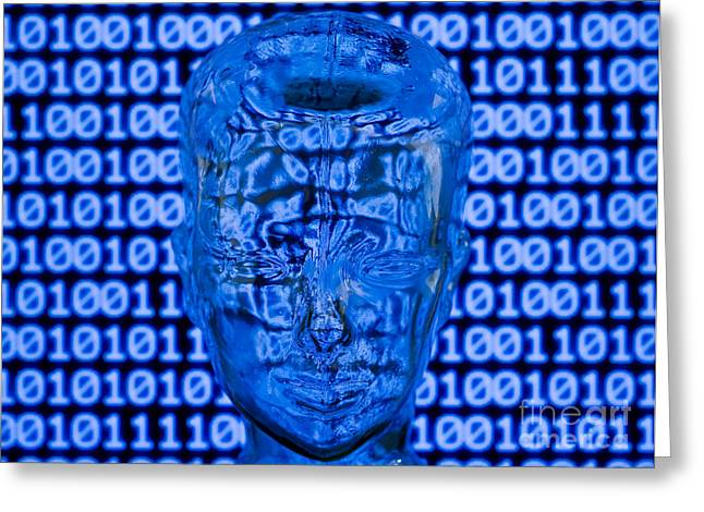 Digital Head Greeting Card by Shawn Hempel