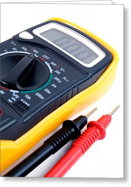 Electrical Resistance Greeting Cards - Digital multimeter Greeting Card by Sinisa Botas