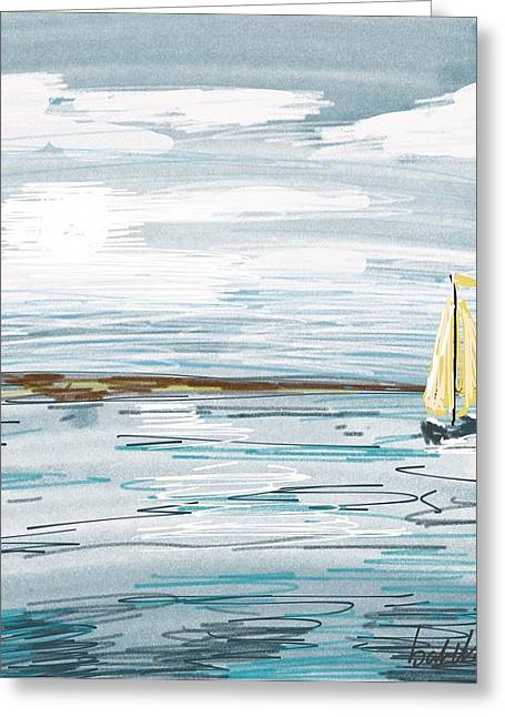 Ocean Vista Digital Art Greeting Cards - Digital seascape in blue Greeting Card by Isabella F Abbie Shores LstAngel Arts