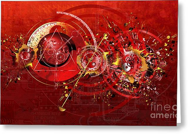 Digital Paint Greeting Cards - Digital Time Shift Greeting Card by Franziskus Pfleghart