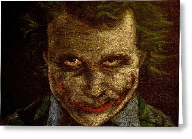 Batman Pastels Greeting Cards - DIgitally Enhanced version of Heath Ledger as The Joker Greeting Card by Will Dudley