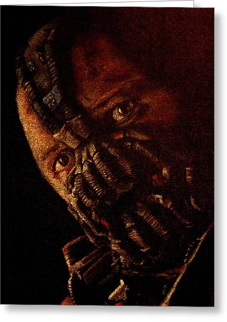 Batman Pastels Greeting Cards - Digitally Enhanced version of Tom Hardy as Bane Greeting Card by Will Dudley