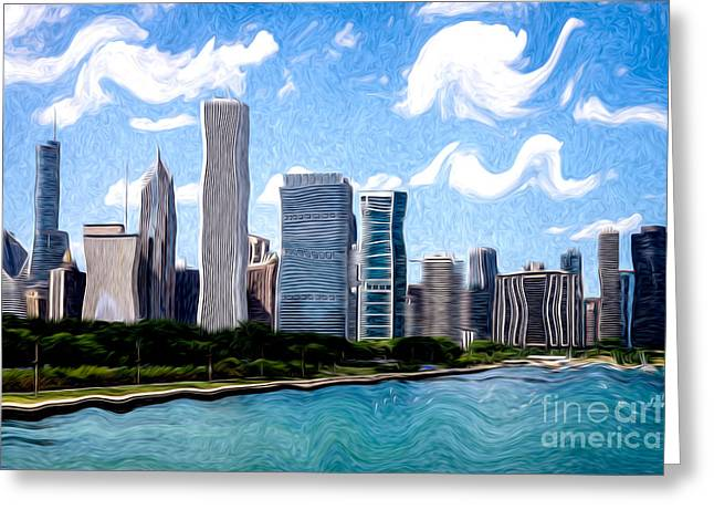 Chicago Digital Greeting Cards - Digitial Painting of Downtown Chicago Skyline Greeting Card by Paul Velgos
