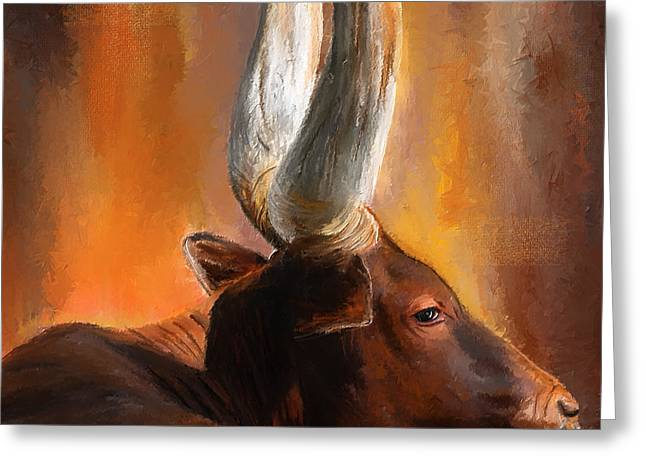Texas Longhorn Cow Greeting Cards - Dignified Pose- Texas Longhorn Paintings Greeting Card by Lourry Legarde