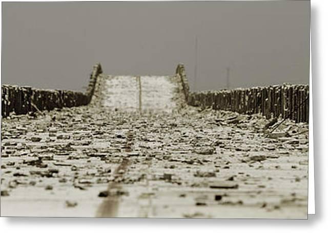 Old Roadway Greeting Cards - Dilapidated Ashphalt Top And Railing Of The Bahia-hondo Bridge I Greeting Card by Mark Rodriguez aka Godriguez