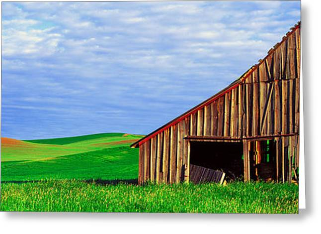 Old Barns Greeting Cards - Dilapidated Barn In A Farm, Palouse Greeting Card by Panoramic Images