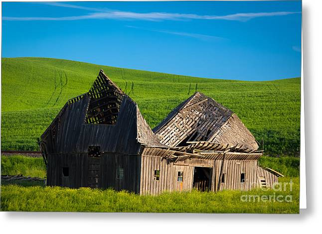 Dilapidated Photographs Greeting Cards - Dilapidated Barn Greeting Card by Inge Johnsson