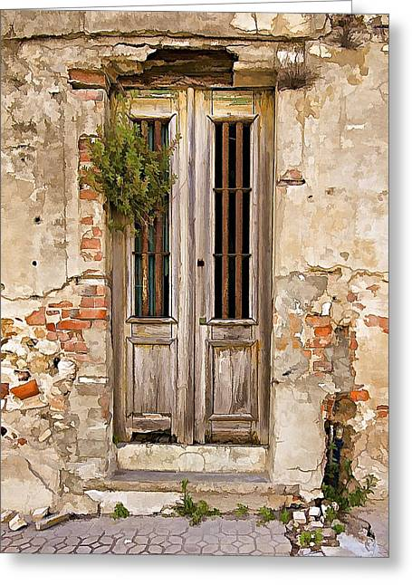 Abandonment Greeting Cards - Dilapidated Brown Wood Door of Portugal Greeting Card by David Letts