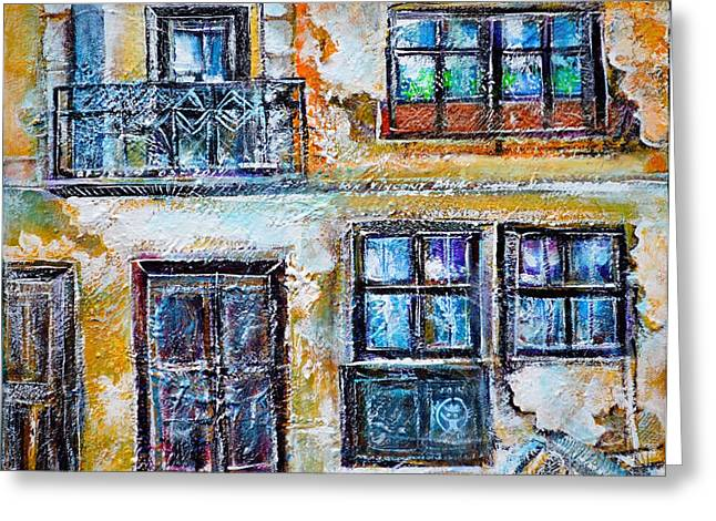 Dilapidated Paintings Greeting Cards - Dilapidated Facade Greeting Card by Ion vincent DAnu