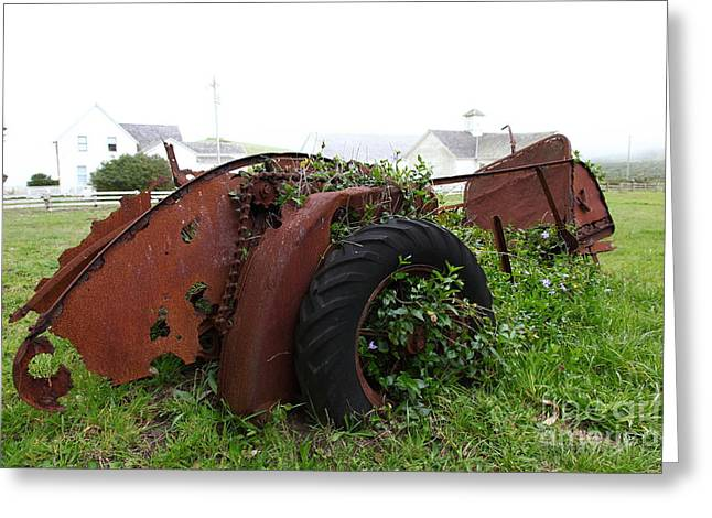 Dilapidated Farm Tractor At The Old Pierce Point Ranch In Foggy Point Reyes California 5D28120 Greeting Card by Wingsdomain Art and Photography