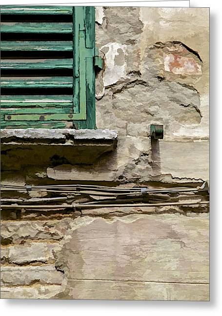 Broken Shutters Greeting Cards - Dilapidated Green Wood Window Shutter II Greeting Card by David Letts