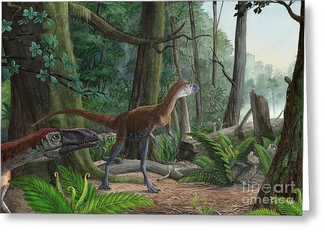 Zoology Digital Art Greeting Cards - Dilong Paradoxus Strolling Greeting Card by Sergey Krasovskiy