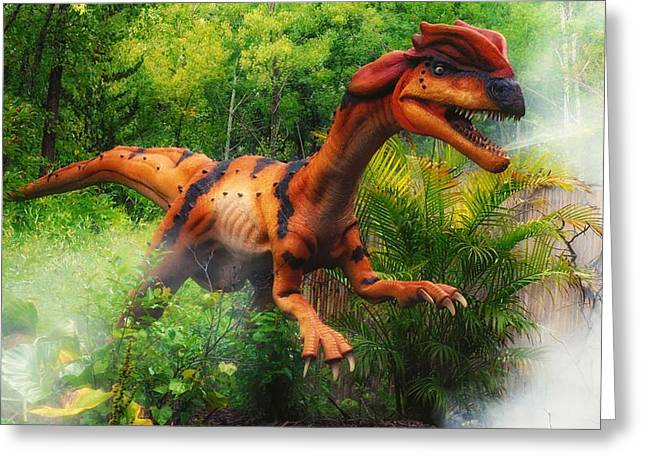 Period Mixed Media Greeting Cards - Dilophosaurus  Greeting Card by Todd and candice Dailey