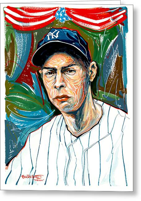 Clippers Mixed Media Greeting Cards - Dimaggio Greeting Card by Ben De Soto