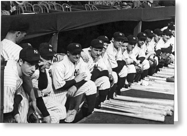 Dimaggio In Yankee Dugout Greeting Card by Underwood Archives