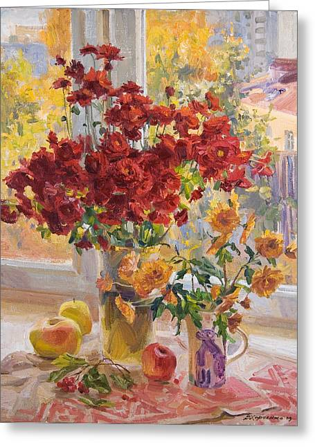 """""""flower Still Life"""" Greeting Cards - Dimas bouquet Greeting Card by Victoria Kharchenko"""