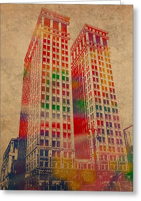 Dimes Greeting Cards - Dime Building Iconic Buildings of Detroit Watercolor on Worn Canvas Series Number 1 Greeting Card by Design Turnpike