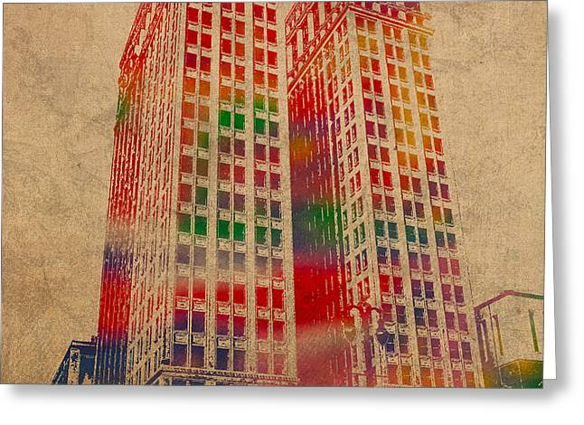 Dime Building Iconic Buildings of Detroit Watercolor on Worn Canvas Series Number 1 Greeting Card by Design Turnpike