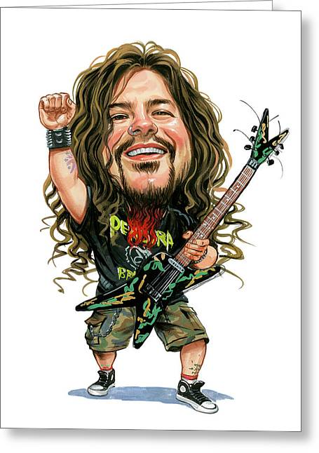 Caricatures Greeting Cards - Dimebag Darrell Greeting Card by Art